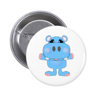 blue hippo cute character 6 cm round badge
