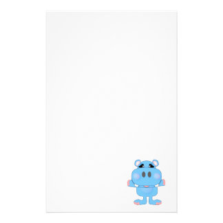 blue hippo cute character personalized stationery