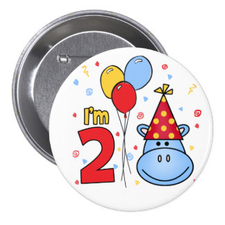 Blue Hippo Face 2nd Birthday 7.5 Cm Round Badge
