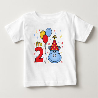 Blue Hippo Face 2nd Birthday Baby T-Shirt
