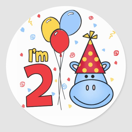 Blue Hippo Face 2nd Birthday Classic Round Sticker