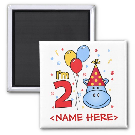 Blue Hippo Face 2nd Birthday Square Magnet