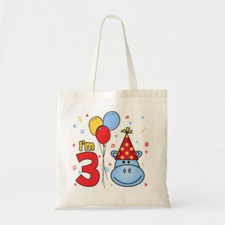 Blue Hippo Face 3rd Birthday Bags