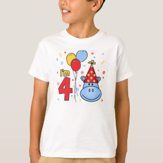 Blue Hippo Face 4th Birthday T-Shirt