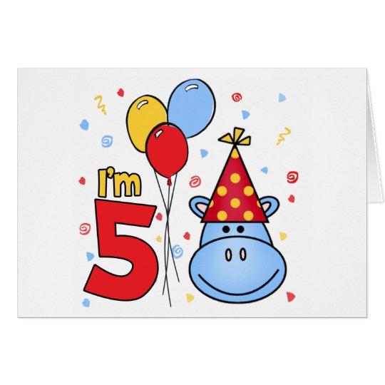 Blue Hippo Face 5th Birthday Invitation