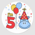 Blue Hippo Face 5th Birthday Round Stickers