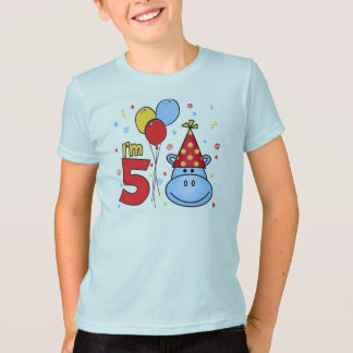 Blue Hippo Face 5th Birthday T-Shirt