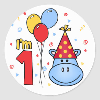 Blue Hippo Face First Birthday Classic Round Sticker