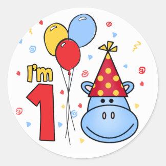 Blue Hippo Face First Birthday Round Sticker