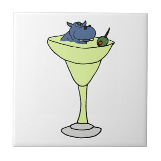 Blue Hippo Sitting in Martini Drink Small Square Tile