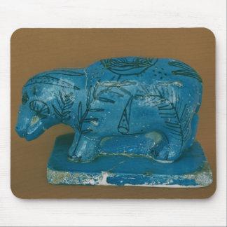 Blue hippopotamus with black decoration mouse mat