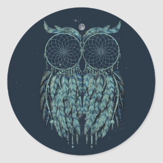 Blue Hipster Owl Stickers