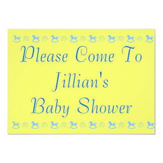 "Blue Hobby Horse Baby Shower Invitation 5"" X 7"" Invitation Card"