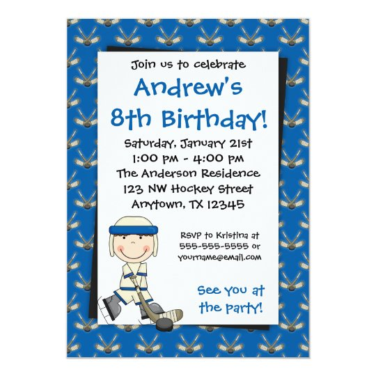 Blue Hockey Birthday Invitations