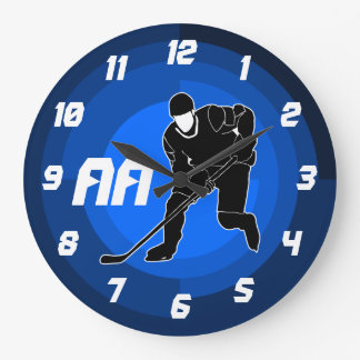 Blue Hockey Player Silhouette Large Clock