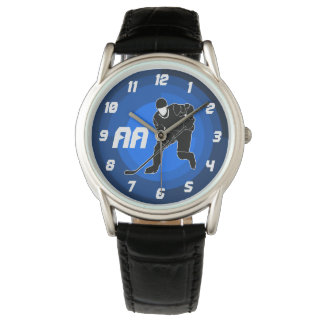 Blue Hockey Player Silhouette Watch