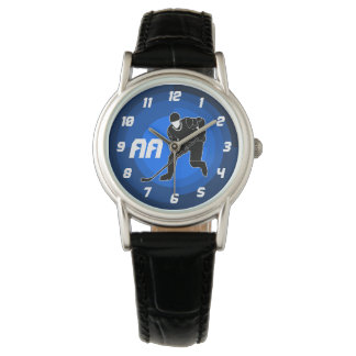 Blue Hockey Player Silhouette Wristwatches