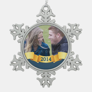 Blue Holiday Banner Photo Ornament