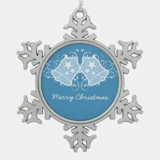 Blue Holiday Bells and Swirls Ornament