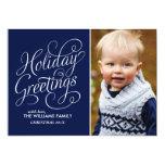 Blue Holiday Greetings 13cm X 18cm Invitation Card