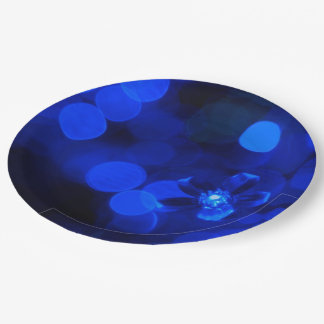 Blue Holiday Lights 9 Inch Paper Plate