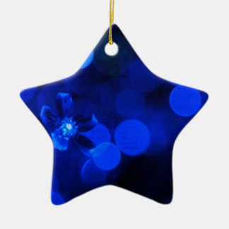 Blue Holiday Lights Double-Sided Star Ceramic Christmas Ornament