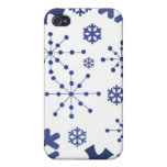 Blue Holiday Snowflakes iPhone 4 Cover