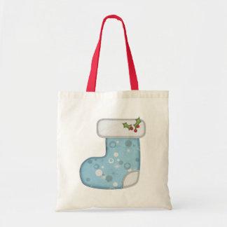 Blue Holiday Stocking Gift Bag
