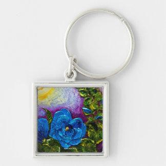 Blue Hollyhocks Keychain