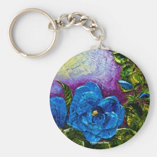 Blue Hollyhocks Keychains
