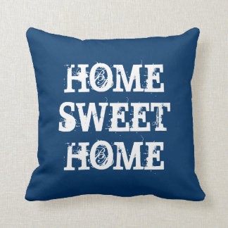 Blue Home sweet home weathered heart throw pillow