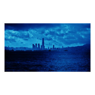 Blue Hong Kong Skyline Poster