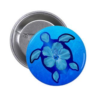 Blue Honu Turtle and Hibiscus 6 Cm Round Badge