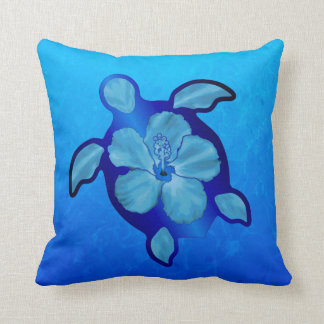 Blue Honu Turtle and Hibiscus Cushion