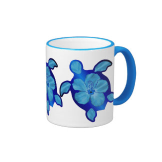 Blue Honu Turtle and Hibiscus Ringer Mug