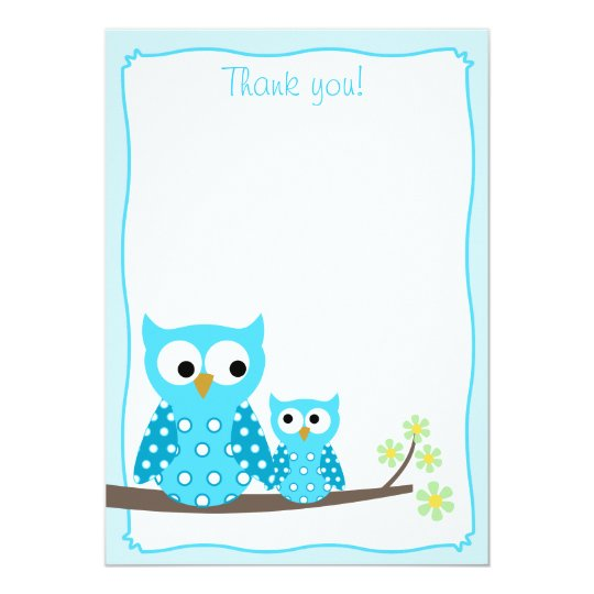 Blue Hoot Owl Flat Thank You notes Card