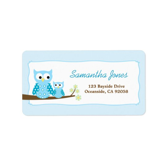 Blue Hoot Owls Large Return Address Label