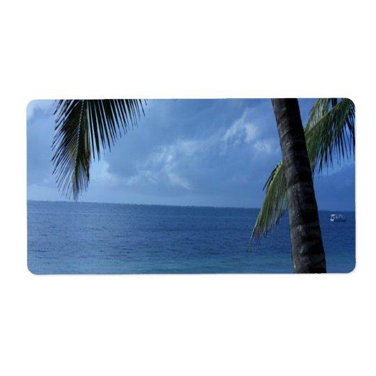 Blue Horizon Beach Shipping Label
