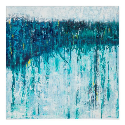 Blue Horizon - Blue Abstract Art Poster