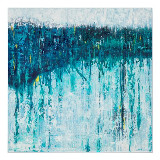 Blue Horizon - Blue Abstract Art Poster