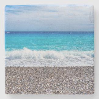 Blue Horizon Sandy Seashore Stone Coaster