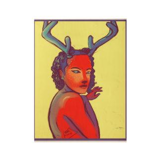 Blue Horned Doe Wood Poster