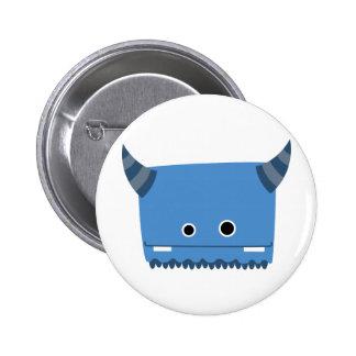 Blue Horned Monster 6 Cm Round Badge