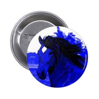 Blue Horse 6 Cm Round Badge