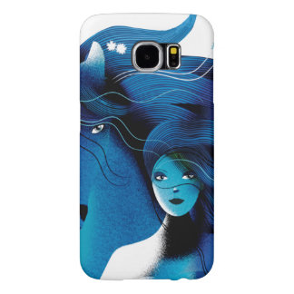 Blue Horse and a Girl Phone Case