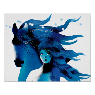 Blue Horse and a Girl Poster
