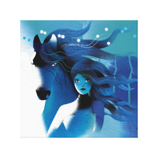 Blue Horse and a Girl Wrapped Canvas