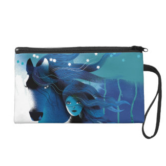 Blue Horse and a Girl Wristlet Purses
