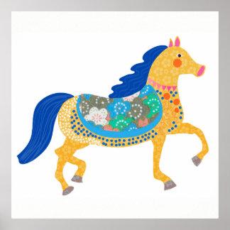 Blue horse art Illustration. Poster
