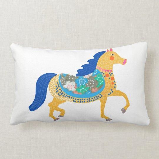 Blue horse Custom All-Over-Print pillow. Lumbar Cushion